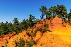 Ochre cliffs near Roussillon, Provence, France Stock Image