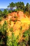 Ochre cliffs near Roussillon, Provence, France Stock Photo