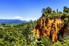 Ochre cliffs near Roussillon, Provence, France Royalty Free Stock Photo