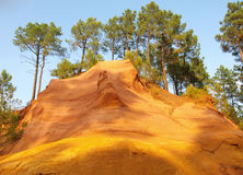 Ochre cliffs in Roussillon, France Royalty Free Stock Image