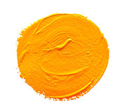 Ochre round strokes of the paint brush isolated. On a white Stock Photos