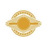 Ochre stamp abstract art deco emblem. Vector illustration Stock Photos