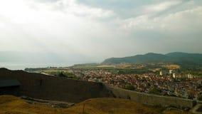 Ohrid City seen from Tsar Samuel`s Fortress. royalty free stock photography