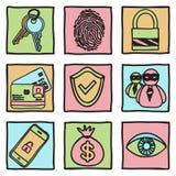 Ochron i hackera ikony Obrazy Stock