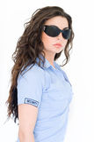 ochrona brunetki dziewczyny fotografia stock