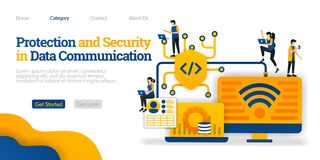 Ochrona i ochrona w dane komunikacji gacenie dane udzielenia ścieżka dla użytkownik ochrony Wektorowy płaski ilustracyjny pojęcie ilustracja wektor