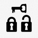Ochrona kędziorek z kluczem na przejrzystym tle Blokujący, otwierający łatwe tło ikony zamieniają przejrzystego cienia wektor ilustracja wektor
