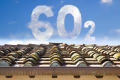 Ochrona od dwutlenek węgla - pojęcie wizerunek przeciw budynkowi mieszkalnemu fotografia stock