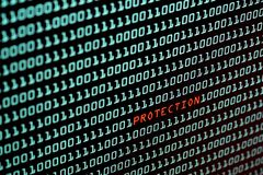 Ochrona tekst i binarnego kodu pojęcie od desktop ekranu, Zdjęcie Stock