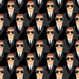 ochroniarz Bezszwowy wzór mężczyzna w szkłach Tajni agenci Se Obrazy Royalty Free