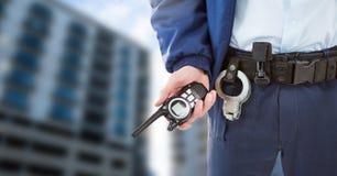 Ochroniarz na zewnątrz budynków obrazy stock