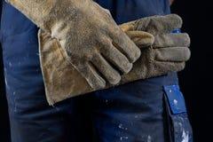Ochronne rękawiczki dla pracowników budowlanych i spawaczów Protecti Zdjęcia Stock