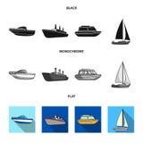 Ochrony łódź, lifeboat, ładunku parostatek, bawi się jacht Statki i woda transportu ustalone inkasowe ikony w czarnym, mieszkanie royalty ilustracja