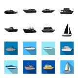 Ochrony łódź, lifeboat, ładunku parostatek, bawi się jacht Statki i woda transportu ustalone inkasowe ikony w czerni, flet ilustracji