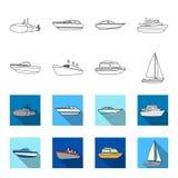 Ochrony łódź, lifeboat, ładunku parostatek, bawi się jacht Statki i woda transportu ustalone inkasowe ikony w konturze, mieszkani ilustracji