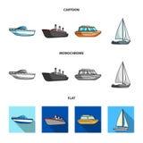 Ochrony łódź, lifeboat, ładunku parostatek, bawi się jacht Statki i woda transportu ustalone inkasowe ikony w kreskówce, mieszkan royalty ilustracja
