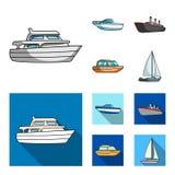 Ochrony łódź, lifeboat, ładunku parostatek, bawi się jacht Statki i woda transportu ustalone inkasowe ikony w kreskówce, mieszkan ilustracja wektor