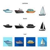 Ochrony łódź, lifeboat, ładunku parostatek, bawi się jacht Statki i woda transportu ustalone inkasowe ikony w kreskówce, czarnej ilustracji