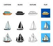 Ochrony łódź, lifeboat, ładunku parostatek, bawi się jacht Statki i woda transportu ustalone inkasowe ikony w kreskówce, czarnej royalty ilustracja