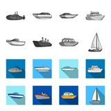 Ochrony łódź, lifeboat, ładunku parostatek, bawi się jacht Statki i woda transportu ustalone inkasowe ikony w monochromu, mieszka royalty ilustracja