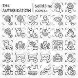 Ochrony autoryzacji linii ikony set, tożsamościowa przeszukiwaczy symboli/lów kolekcja, wektorowi nakreślenia, logo ilustracje ilustracji
