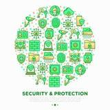Ochrony i ochrony pojęcie w okręgu royalty ilustracja
