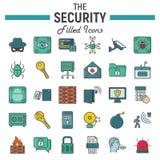 Ochrony ikony kolorowy kreskowy set, cyber ochrona Obraz Stock