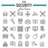 Ochrony ikony kreskowy set, cyber ochrona podpisuje Fotografia Royalty Free