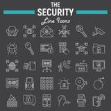 Ochrony ikony kreskowy set, cyber ochrona podpisuje Obraz Stock