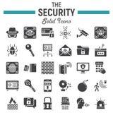 Ochrony ikony stały set, cyber ochrona podpisuje Obrazy Stock