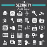 Ochrony ikony stały set, cyber ochrona podpisuje Fotografia Royalty Free