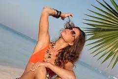 ochrony plażowa kobieta Obrazy Stock