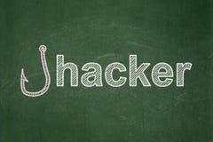 Ochrony pojęcie: Łowić haczyka i hackera na chalkboard tle Zdjęcia Stock