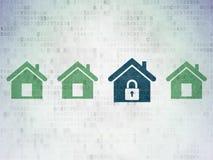 Ochrony pojęcie: błękit domowa ikona na cyfrowym Zdjęcia Royalty Free