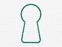 Ochrony pojęcie: Keyhole na ściennym tle obraz royalty free