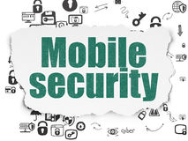 Ochrony pojęcie: Mobilna ochrona na Poszarpanym papierze Zdjęcia Stock