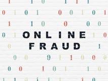 Ochrony pojęcie: Online oszustwo na ściennym tle fotografia stock