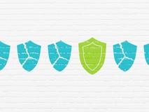 Ochrony pojęcie: osłony ikona na ściennym tle Fotografia Stock