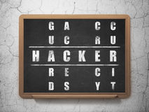Ochrony pojęcie: słowo hacker w rozwiązywać Crossword Fotografia Stock