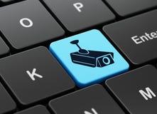 Ochrony pojęcie: Cctv kamera na komputerowej klawiaturze Obraz Royalty Free