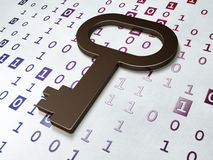 Ochrony pojęcie: Klucz na Binarnego kodu tle Fotografia Stock