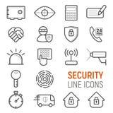 Ochrony wyposażenia ikony ustawiać Wektorowe płaskie kreskowe ilustracje Fotografia Stock