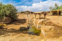 ochrzczenie chrzczący jordania był betania rozważającym jeasus Jesus Jordan rzeczny miejsce gdzie był zdjęcia royalty free