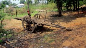 Ochsenkarren in ländlichem Bereich-Indien Stockbild