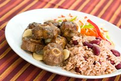 Ochsenschwanz-Curry mit Reis - Carib stockbilder