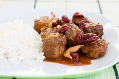 Ochsenschwanz-Eintopfgericht mit Reis Lizenzfreies Stockfoto