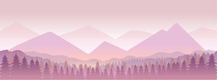 Ochtend in bergen, aard landcape Vector illustratie voor uw zoet water design vector illustratie