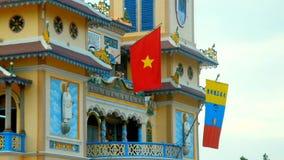 Ochtend bij caodai Mekka in Vietnam stock videobeelden