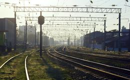 Ochtend bij spoorwegpost Royalty-vrije Stock Fotografie