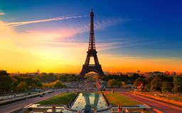 Ochtend Dawn in Parijs Stock Afbeeldingen